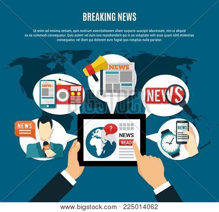 Breaking news background with fresh  information on tablet screen tv anchor newspaper and radio receiver round icons flat vector illustration