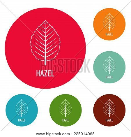 Hazel leaf icons circle set vector isolated on white background