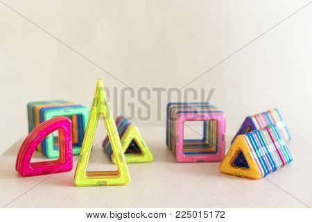 Different multi-colored geometric figures for teaching children