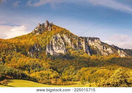 Mountains in the Sulov rocks Nature Reserves in the autumn, Slovakia, Europe.
