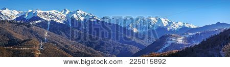 Winter panorama of a mountain landscape, near the city of Sochi, Russia.