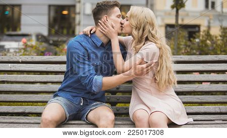 Romantic passionate kiss of young couple in love, man and woman dating, stock video
