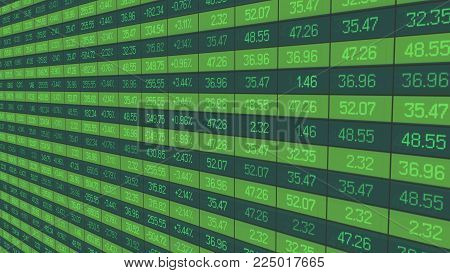 Securities trading statistics, share price indices update on stock market board, stock image