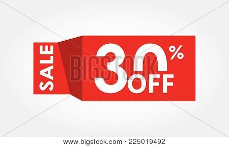 30% Off. Sale And Discount Tag With 30 Percent Price Off Icon. Vector Illustration.