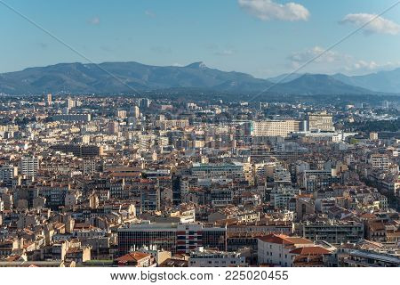 Marseille, France - December 4, 2016: Marseille cityscape. Aerial panoramic view from basilica of Notre Dame de la Garde in Marseille, Provence, France.