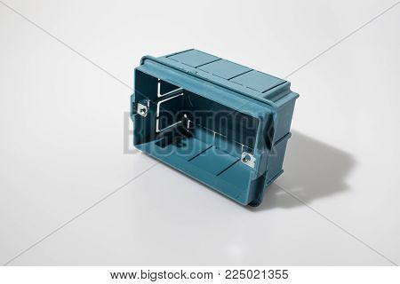 Junction box in a white background composition poster
