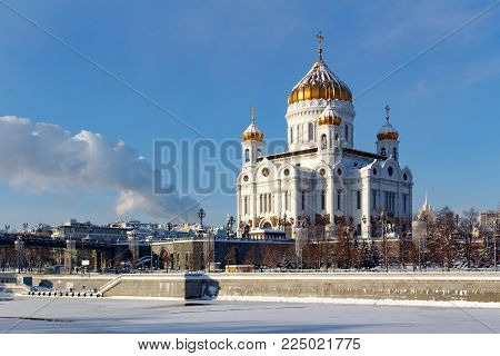 Moscow, Russia - February 01, 2018: Cathedral of Christ the Saviour against Moskva river in winter. View from Bersenevskaya embankment