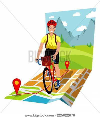 symbolic vector illustration of the bicycle touring