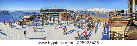 SOCHI, RUSSIA - December 19, 2015: Skiers and snowboarders at the ski resort of Gorki City. Here was created the media center of the XXII Olympic Winter Games.