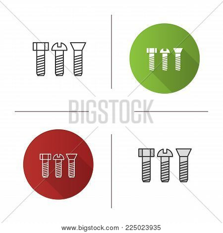 Metal bolts icon. Flat design, linear and color styles. Male screw. Isolated vector illustrations