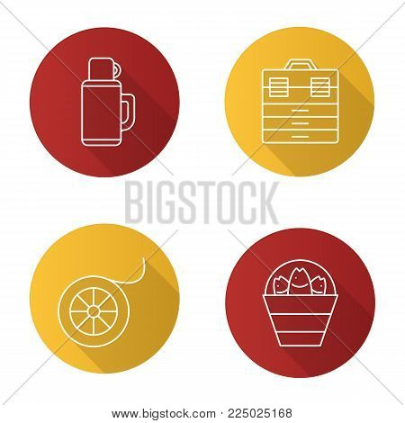 Fishing flat linear long shadow icons set. Bucket with catch, thermos, fishing line spool, tackle box. Vector outline illustration