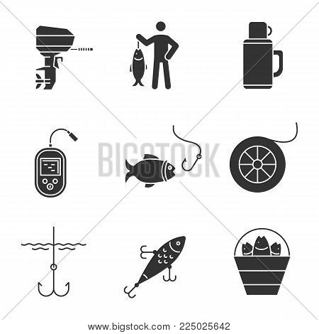 Fishing glyph icons set. Outboard boat motor, fisherman, thermos, echo sounder, fishhook, fishing line spool, lure, bucket with catch. Silhouette symbols. Vector isolated illustration