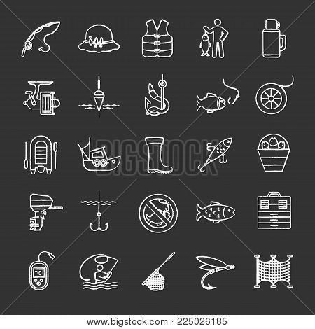 Fishing chalk icons set. Angling equipment. Fish, bait, hook, tackle, boat, rod, fisherman, thermos, echo sounder, uniform. Isolated vector chalkboard illustrations