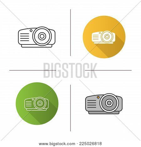 Projector icon. Flat design, linear and color styles. Isolated vector illustrations