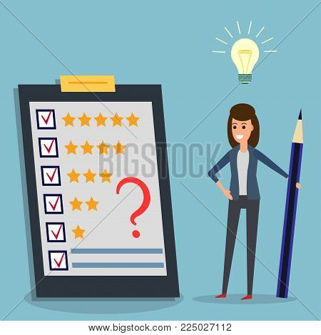 Happy businesswoman holding pencil looking at questionnaire with question mark on clipboard, idea bulb. Concept illustration of customer testimonials, business, vote, feedback, review support, rating