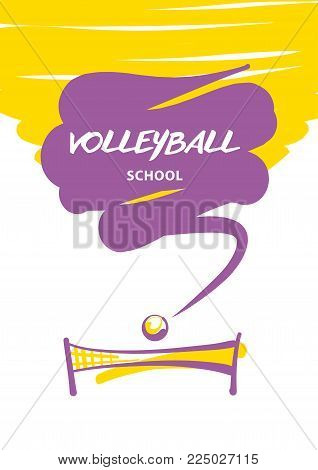 Volleyball team, school, club template logo. Vector illustration. Line sketch image ball and net.  Print on t-shirt. Welcome to best match.