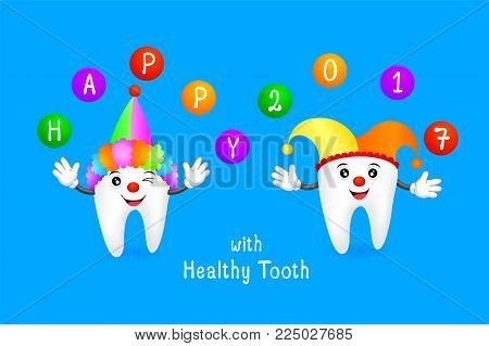Funny cartoon tooth wearing  joker hat with ball.  Dental care concept,  Illustration.