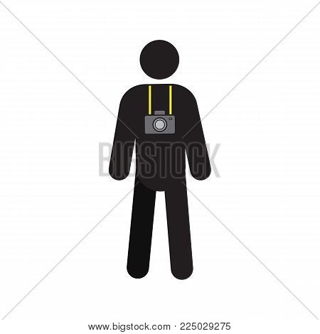 Man with photo camera silhouette icon. Tourist, traveler. Photographer. Isolated vector illustration