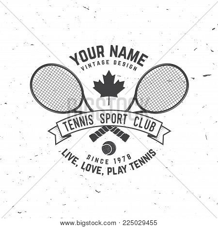 Tennis club badge. Vector illustration. Concept for shirt, print, stamp or tee. Vintage typography design with tennis racket and ball silhouette. Live, love play tennis