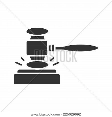 Gavel, court hammer glyph icon. Auction bid. Silhouette symbol. Justice, jurisdiction. Negative space. Vector isolated illustration