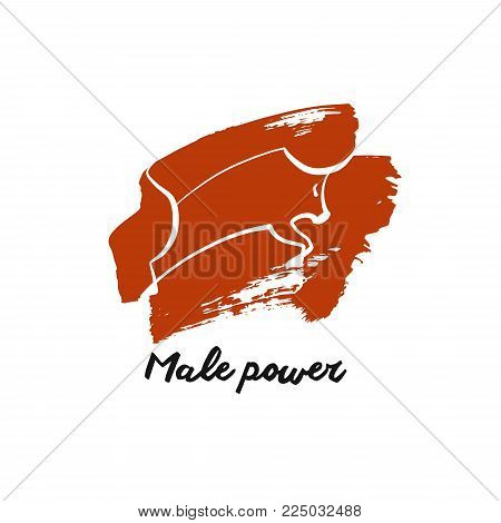 Male power. Sketch image of bull, ox, taurus.