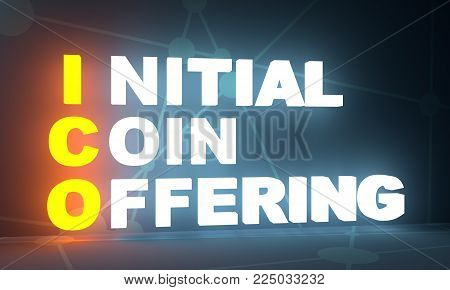 Acronym ICO - Initial Coin Offering. Business conceptual image. 3D rendering. Neon bulb illumination