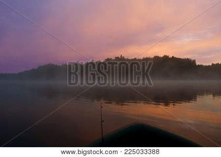 beautiful morning landscape, morning mist over the river, dawn, fog, morning peace and quiet on the river in the fog, the sunrise in a beautiful pink and blue tones