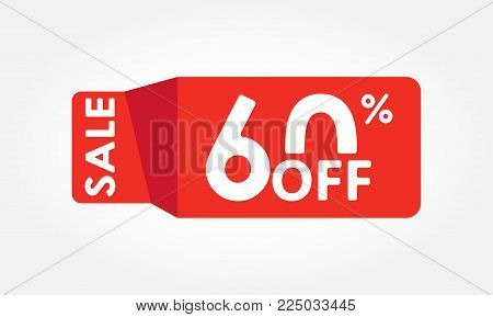 60% Off. Sale And Discount Tag With 60 Percent Price Off Icon. Vector Illustration.