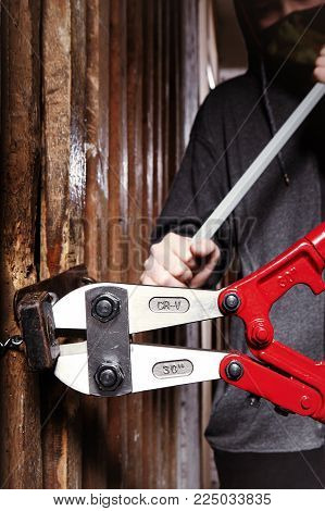 Two teenage burglars breaking in basement cellar with 30 inch bolt cutters - detail