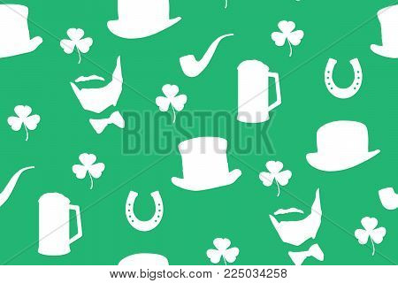 St. Patrick's day background in green colors. Vector Illustration of a St. Patrick's Day Background. Seamless Pattern