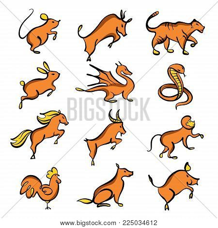 Set of twelve chinese year lunar zodiac horoscope symbols. Silhouette animal sketch vector illustration. Yellow and orange color sign isolated on white background