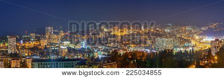 Panoramic view of the city of Sochi late at night. Russia.