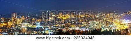 SOCHI, RUSSIA - FEBRUARY 2, 2018: Urban panorama in the late evening.