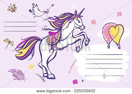 Unicorn. Catch up a dream. Scetch image of balloon, butterfly and bird. Vector illustration.