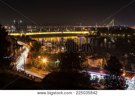View From Kalemegdan Towards Belgrade Bridges And Ada