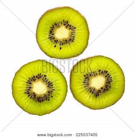 Kiwi fruit.  Slice of fresh kiwi fruit isolated on white background