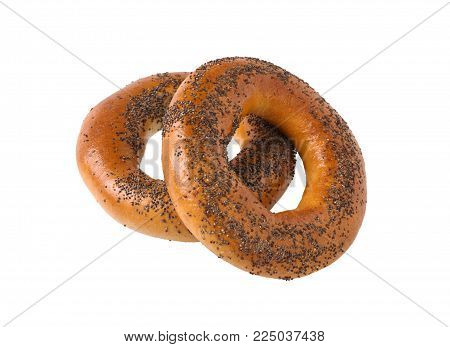 Bagel with poppy isolated on white background.