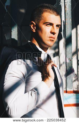 Handsome Man In Black Suit And Sunglasses. Secret Agent, Mafia, Bodyguard Concept.