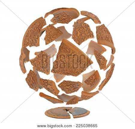 Sphere of broken brown ceramic shards isolated on white background