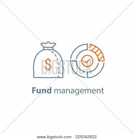 Mutual fund management, long term investment, financial strategy, corporate finance, income growth, dividend payment, performance analysis, money bag, budget expenses, vector line icon thin stroke