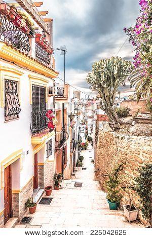 Alicante, Spain, December 31, 2017: Beautiful old street in Alicante city, Costa Blanca, Spain