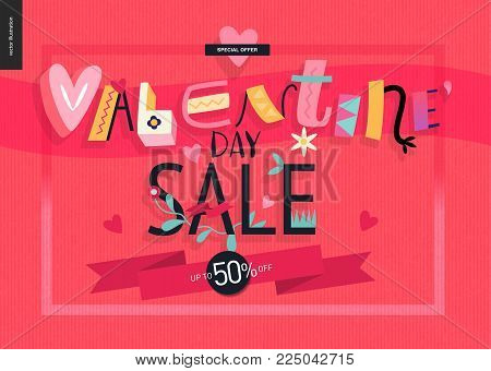Valentines day sale poster with lettering and traditional elements