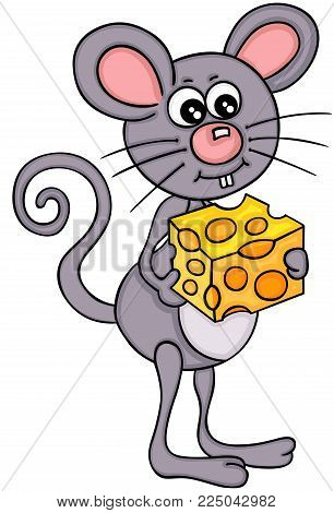 Scalable vectorial image representing a mouse eating cheese cube, isolated on white.