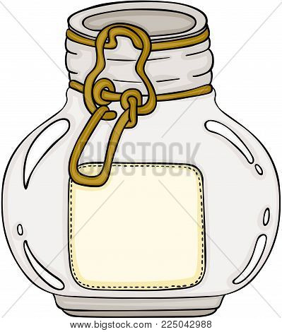 Scalable vectorial representing a round glass jar, illustration isolated on white background.