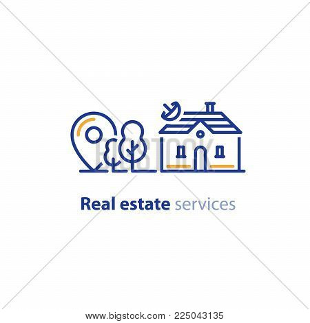 Detached house location, suburban home, real estate concept, residential neighborhood vector line icon poster