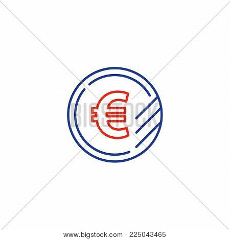 Currency signs, money exchange, euro coin, vector mono line icons