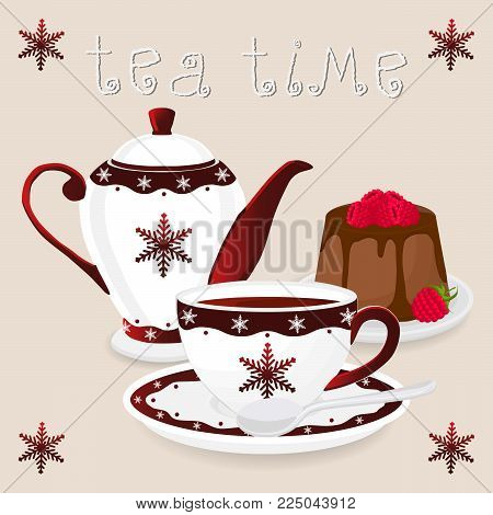 Vector illustration logo for ceramic cup, white teapot, teacup on saucer, berry cheesecake. Teacup pattern of tea brewed in porcelain cups, teapot, cheesecakes. Drink teas in teacups from teapots.