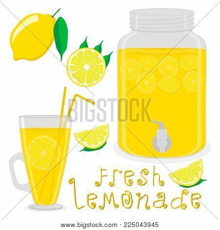 Vector illustration logo for slice yellow citrus fruit lemons, jar with lemonade. Jar pattern consisting of glass pitcher filled lemonades, natural sweet lemon product. Lemonade fresh liquid of jars.