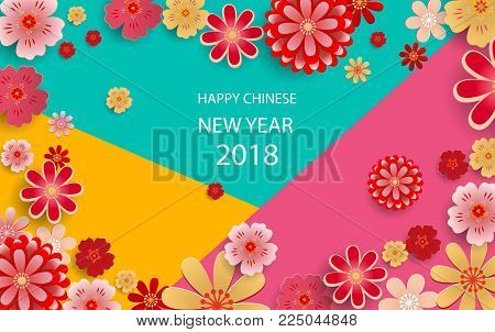 happy new year2018 chinese new year greeting card poster flyer or invitation