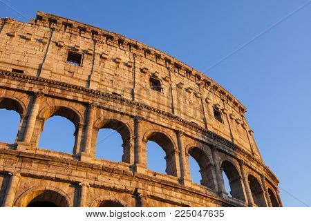 Image Of Historical Colosseum In Rome, Italy